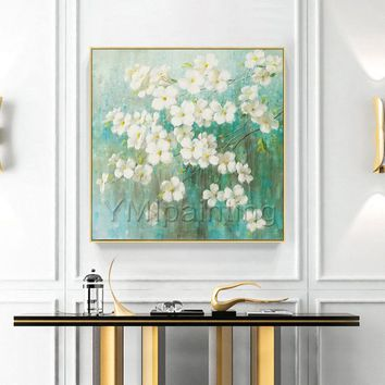 Modern flower painting Acrylic Paintings on Canvas Original art green and white large wall art Wall Pictures home Decor cuadros abstractos