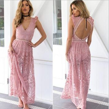 New Summer backless lace dress 2018 women transparent sexy party