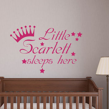 Girl Name Wall Decals Little Princess Sleeps Here Decal Kids Nursery Quote Crown Vinyl Stickers Home Bedroom Decor T137