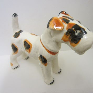 Scottish Terrier Porcelain Dog Figurine Marked Japan