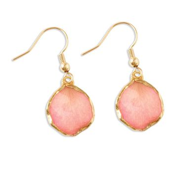 Lacquer Dipped 24k Gold Trim Pink Rose Petal Dangle Earrings