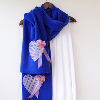 Valentine Hearts Scarf, Blue Heart Scarf, Pink Hearts, Gifts Scarf. Scarves, Women Accessories, Valentine's Day