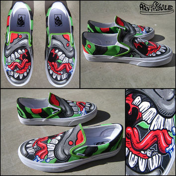 Talking Toes Custom Hand Painted Vans Classic Slip Ons