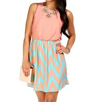 Peach/Aqua Color Block Dress
