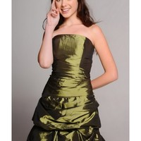 Beading Embroidery Satin Ball Gown Strapless Knee Length Green Cocktail Dress NPD0039