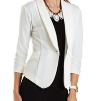 Ivory Textured Shawl Lapel Blazer by Charlotte Russe
