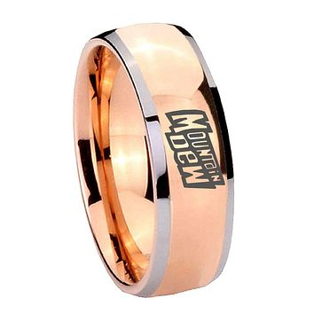8MM Rose Gold Dome Mountain Dew 2 Tone Tungsten Carbide Laser Engraved Ring