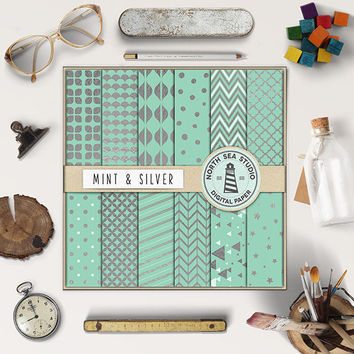 BUY5FOR8 Silver And Mint Digital Paper Silver Patterns Mint Backgrounds Digital Scrapbooking 12 JPG 300 DPI Files Download