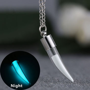 Brand Jewelry Glow In the Dark Necklace Silver Plated Pepper Shaped Glass Bottle Necklace Pendant for Unisex