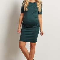 Green-Solid-Fitted-Maternity-Dress