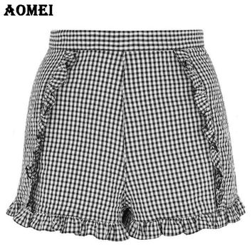 Summer Vintage Plaid Shorts with Ruffles Trim Invisible Zipper Junior Girls 2017 Fashion Retro Gingham Bottoms Short Clothes