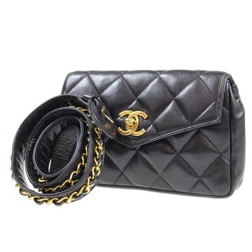 CHANEL Matelasse Quilted Bum Bag Black Leather Vintage Italy Authentic #J640 W