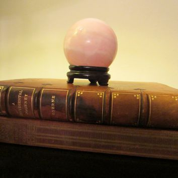 Pink Quartz Paperweight On Stand