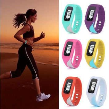 New Fashion Digital LCD Pedometer Run Step Walking Distance Calorie Counter Watch Bracelet Factory Prcie Gifts [8322870721]