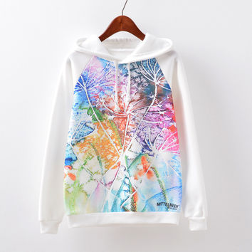 Women's Fashion Print Hats Casual Fleece Hoodies [9067782852]