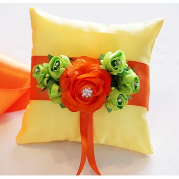 Yellow Orange Ring Pillow for Dogs, Light Green Flowers, Wedding pet Accessory, Bearer