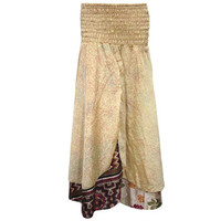 Mogulinterior Long Skirt Beige Printed Silk Sari Double Layer Vintage Maxi Skirts
