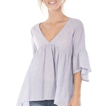 V Neckline Bell Sleeve Ruffled Tunic Top - Light Blue
