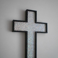 SILVER GLITTER & BLACK Wall Cross - handpainted wood cross