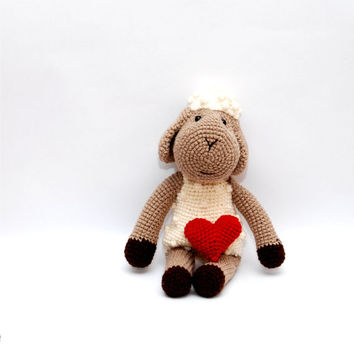 stuffed Easter sheep lamb amigurumi crochet farm animal red heart gift for Easter cute stuffed toy for children