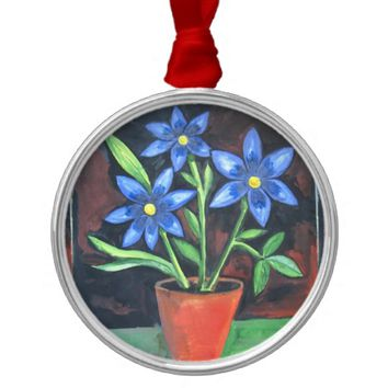 Blue Flowers Round Metal Christmas Ornament