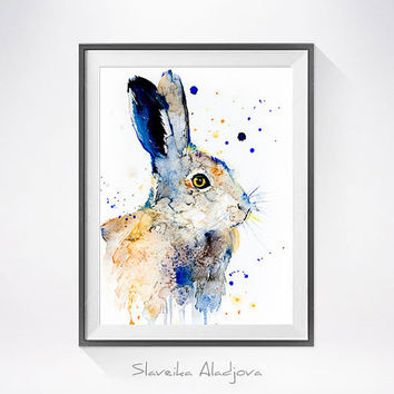 Hare watercolor painting print, Hare art, rabbit watercolor, rabbit painting,  rabbit illustration, animal painting, animal art