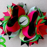 Nike Hair Bow , Neon colors Boutique Bow , layered bow , Stacked Hair Bow ,Nike Ott Bow