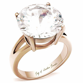A Perfect 9CT 14K Rose Gold Round Cut Solitaire Split Shank Russian Lab Diamond Ring