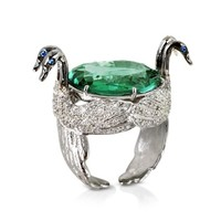 Bernard Delettrez Designer Rings Swan Fluorite and Gold Ring