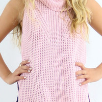 Wrapped In Warmth Pink Crochet Knit Sleeveless Turtleneck Hi-Low Top