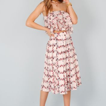 Fence of Roses Pleated Skirt