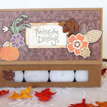 Thanksgiving blessings card, paper handmade greeting Thank you Fall tea light candle for friend