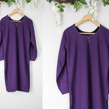 Vintage Purple Sparkly Shift Dress