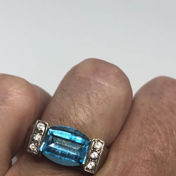 Vintage geniune blue topaz and white sapphire 925 sterling silver rhodium Ring