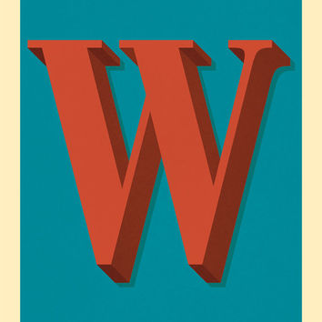 The Letter W, Too - Original Giclee Art Print, Typography, Alphabet, Monogram, Red, Burgundy, Blue