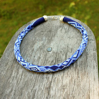 Blue, light blue, white geometric pattern crochet seed bead rope necklace, Beaded rope necklace, Beadwork, bead jewelry, great gift for here