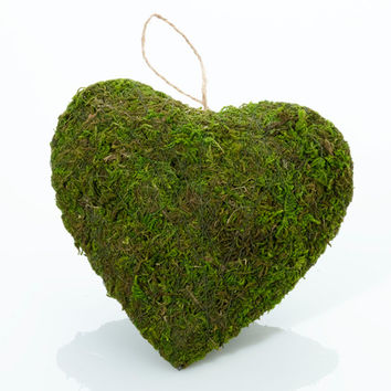 Green Moss Hanging Heart for Rustic Wedding