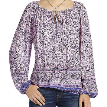 Lucky Brand Border Print Peasant Top Womens - Purple Multi