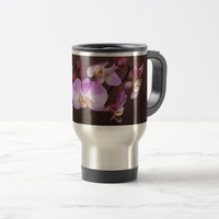 Violet and White Orchid Close Up Photograph Travel Mug