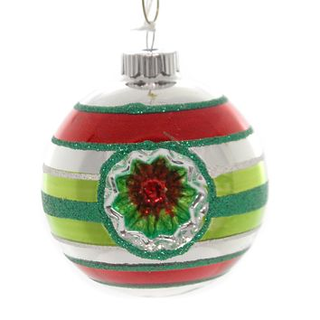 Shiny Brite HS ROUNDS WITH REFLECTORS. Christmas Ornament Stripes 4027374S Lime