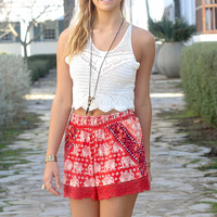 Sanibel Beach Red Elephant Printed Crochet Lace Hem Shorts