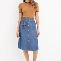 Contemporary Life In Progress Buttoned Denim Skirt