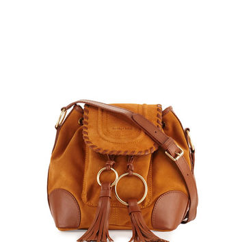 See by Chloe Polly Suede Flap Bucket Bag, Hazel