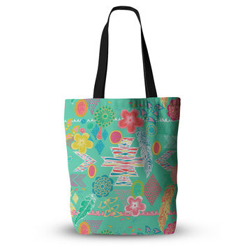 "Anneline Sophia ""Aztec Boho Emerald"" Teal Rainbow Everything Tote Bag"