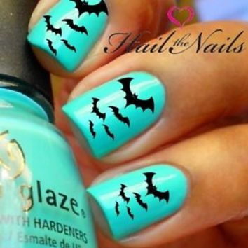 2 Sets Halloween Nail WRAPS Nail Art Water Transfers 40 Decals Black Bats