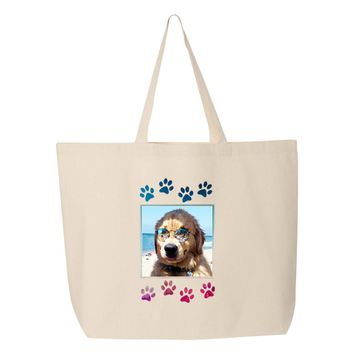 Custom Printed Photo Tote Bag with Paw Prints Frame - Upload Your Photo