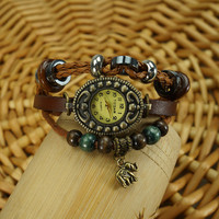 Brown Leather Elephant Bracelet Watch