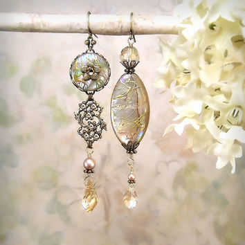 Sea Dreams - Champagne Dangle Earrings, Mermaid Jewelry Beach Wedding Honey Cream Seashell Flower Earrings Gypsy Siren Asymmetrical Mismatch
