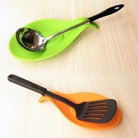 Flexible Silicone Heat Resistant Spoon Fork Mat Rest Utensil Spatula Holder Kitchen Tool (Size: One Size) [8045593095]