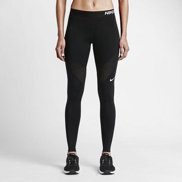 Nike Pro Running Power Epic Lx Leggings With Mesh Panels